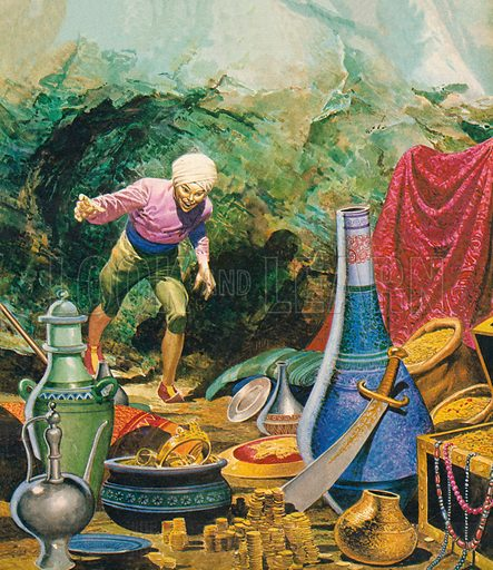 Ali Baba and the Forty Thieves.  Illustration from Once Upon a Time.
