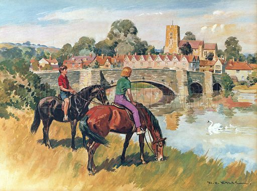 English country scene. Illustration from Once Upon a Time.