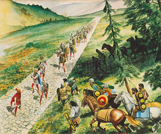 Roman road.  Illustration from Once Upon a Time.