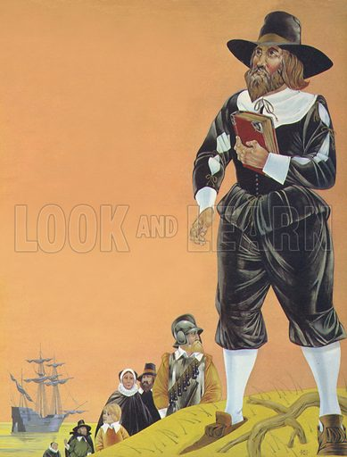The Pilgrim Fathers. Illustration from Once Upon a Time.