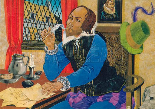 William Shakespeare writing. Illustration from Once Upon a Time.