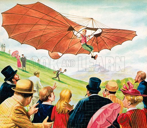 The first man to fly: Otto Lilienthal. Illustration from Once Upon a Time.