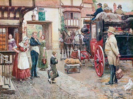 David Copperfield goes to school, scene from Charles Dickens' novel David Copperfield. Illustration from Once Upon a Time.