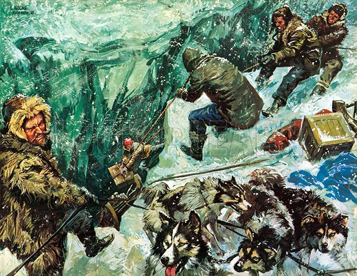 Roald Amundsen's journey to the South Pole. Illustration from Once Upon a Time.