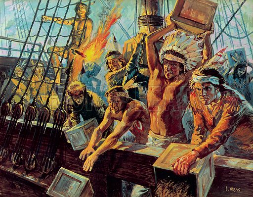 Boston Tea Party, Massachusetts, New England, 1773. Illustration from Once Upon a Time.