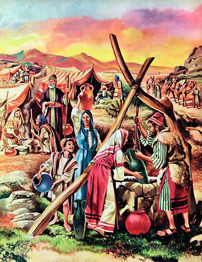 People from the Bible - Nomads.  Nomads are wandering people.  As their flocks and herds move on in search of water and pasturage, they move with them.  Always in search of water, where they find it, they make camp.