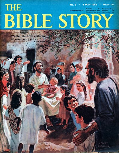 "Christ with Children.  ""Suffer the little children to come unto me ...""."