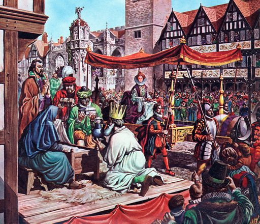 Queen Elizabeth I in the City of London.  Shortly before her coronation in 1559 Queen Elizabeth paid a State Visit to the City of London.  The citizens acted many Biblical scenes - this one at Cheapside showed the three wise men at the manger in Bethlehem.