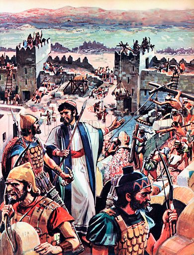 Rebuilding of Jerusalem.  While they were rebuilding the walls of Jerusalem, the Jews were under constant threat of attack by the hostile trives which surrounded them.  So Nehemiah ordered half of his men to arm themselves and keep guard, while the other half went on with the work.