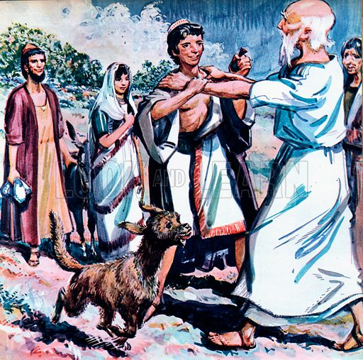 Tobias and his Father.  Hearing his son's voice, Tobit rushed out to greet him.  This was the moment for Tobias to squeeze the gall into his father's eyes.