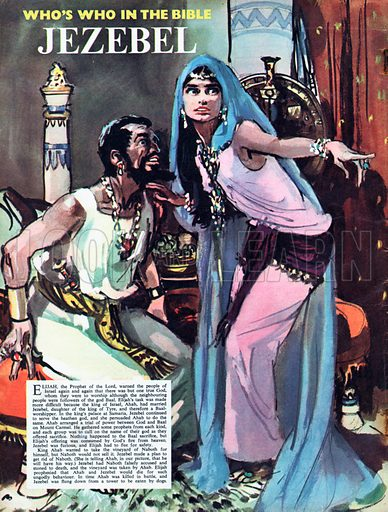 Jezebel talking to Ahab.  In time, Ahab was killed in battle, and Jezebel was flung down from a tower to be eaten by dogs.