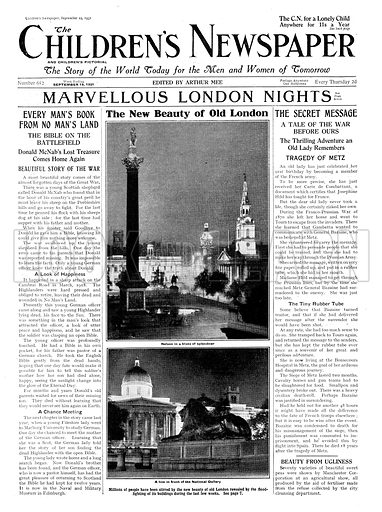 Electric illumination of London. Cover page of The Children's Newspaper, 19 September 1931.