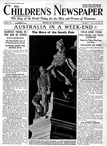 Monument to Robert Falcon Scott.  Cover page of The Children's Newspaper, 3 November 1934.