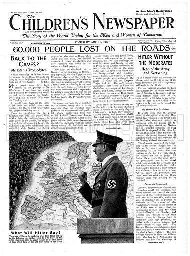 What will Hitler say?  Cover page of The Children's Newspaper, 19 February 1938.