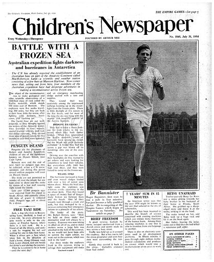 Roger Bannister.  Cover page of The Children's Newspaper, 31 July 1954.