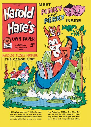 Harold Hare. Cover from Harold Hare's Own Paper, 15 October 1960.