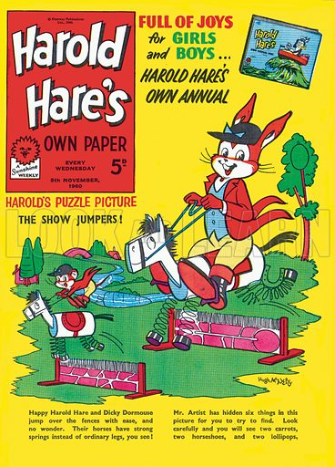 Harold Hare. Cover from Harold Hare's Own Paper, 5 November 1960.