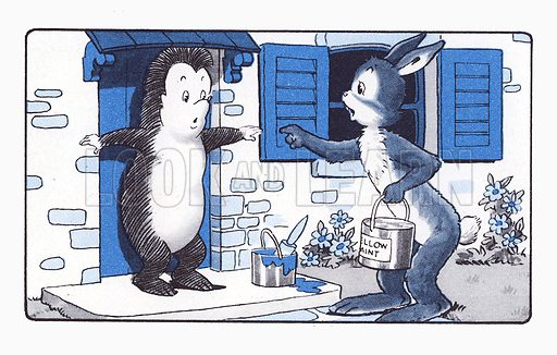 Happy Hedgehog's Door. Comic strip from The Jack and Jill Harold Hare Book 1960.