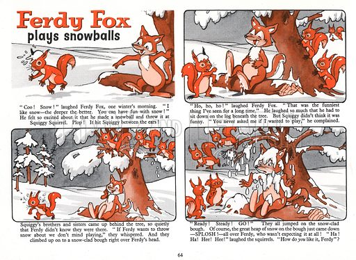 Ferdy Fox Plays Snowballs. Comic strip from The Jack and Jill Harold Hare Book 1960.