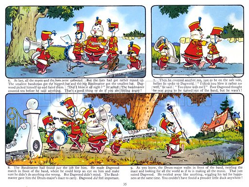 Dagwood Duck The Bandsman. Comic strip from Harold Hare's Own Annual 1961.