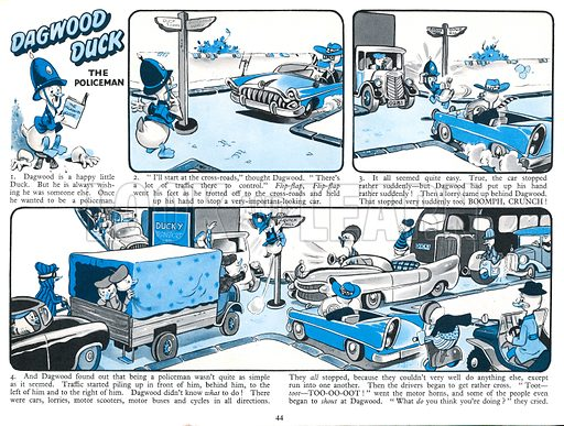 Dagwood Duck The Policeman. Comic strip from Harold Hare's Own Annual 1961.