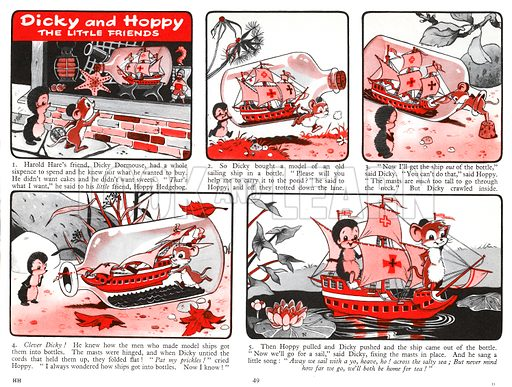 Dicky and Hoppy The Little Friends. Comic strip from Harold Hare's Own Annual 1961.