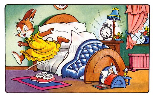 Flopsy Flufftail Goes to Work. Panel from comic strip from Harold Hare's Own Annual 1961.