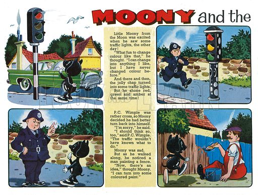 Moony and the Traffic Lights. Comic strip from Harold Hare's Own Book 1964.