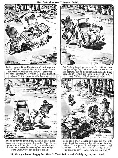 Teddy and Cuddly. Comic strip from Jack and Jill, 12 January 1957.