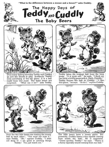Teddy and Cuddly. Comic strip from Jack and Jill, 2 March 1957.