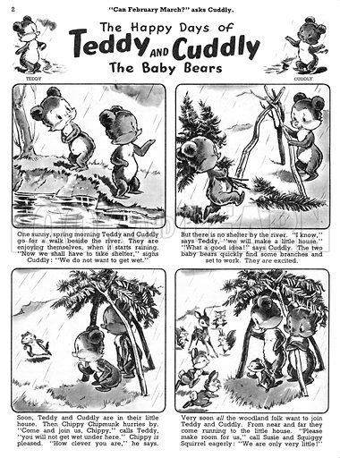Teddy and Cuddly. Comic strip from Jack and Jill, 23 March 1957.