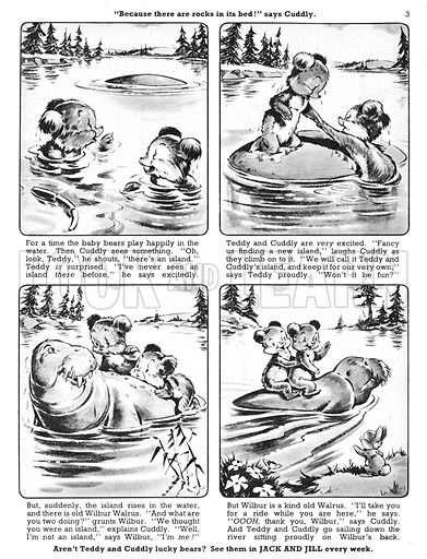 Teddy and Cuddly. Comic strip from Jack and Jill, 18 May 1957.