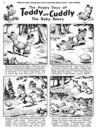 Teddy and Cuddly. Comic strip from Jack and Jill, 1 June 1957.