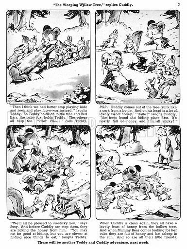 Teddy and Cuddly. Comic strip from Jack and Jill, 6 July 1957.
