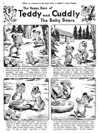 Teddy and Cuddly. Comic strip from Jack and Jill, 17 August 1957.