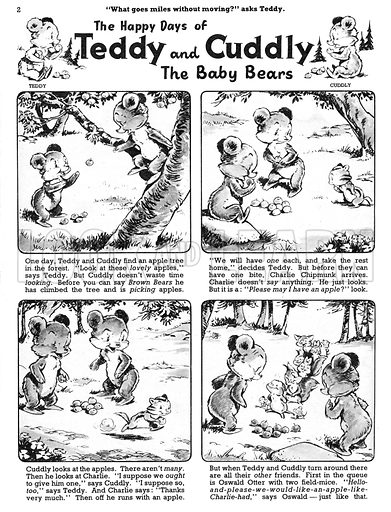 Teddy and Cuddly. Comic strip from Jack and Jill, 24 August 1957.