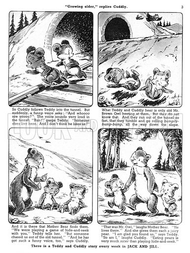 Teddy and Cuddly. Comic strip from Jack and Jill, 31 August 1957.
