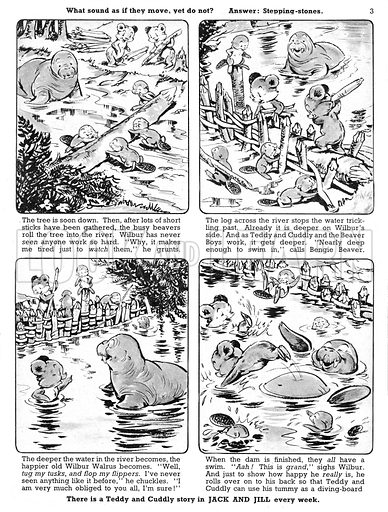 Teddy and Cuddly. Comic strip from Jack and Jill, 14 September 1957.
