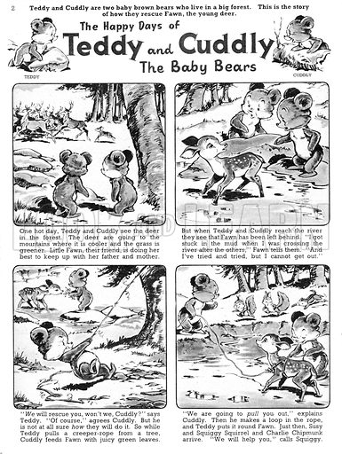 Teddy and Cuddly. Comic strip from Jack and Jill, 28 September 1957.