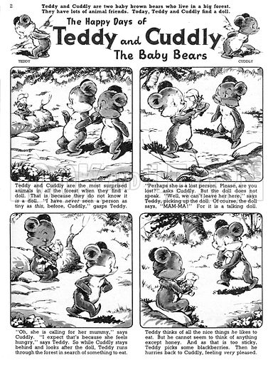 Teddy and Cuddly. Comic strip from Jack and Jill, 5 October 1957.