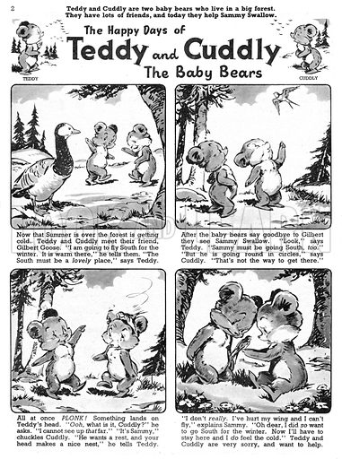 Teddy and Cuddly. Comic strip from Jack and Jill, 12 October 1957.