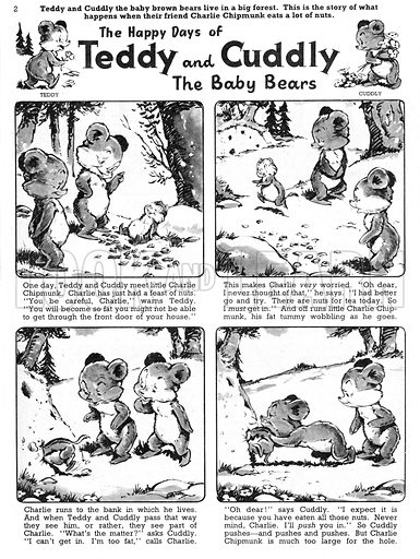Teddy and Cuddly. Comic strip from Jack and Jill, 19 October 1957.