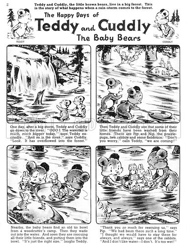 Teddy and Cuddly. Comic strip from Jack and Jill, 2 November 1957.