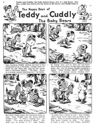 Teddy and Cuddly. Comic strip from Jack and Jill, 9 November 1957.