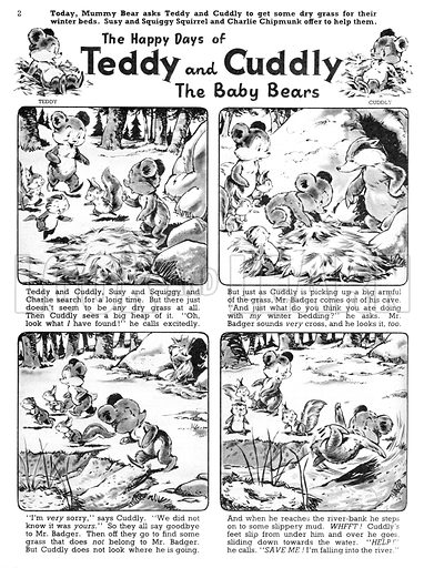 Teddy and Cuddly. Comic strip from Jack and Jill, 30 November 1957.