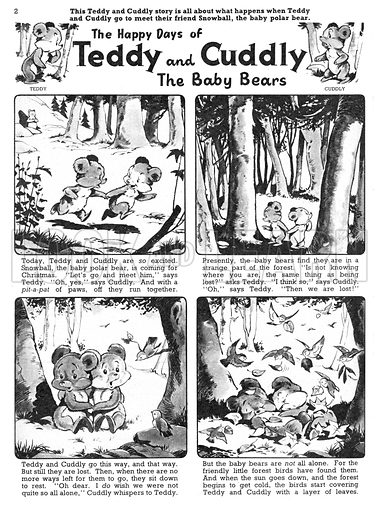 Teddy and Cuddly. Comic strip from Jack and Jill, 21 December 1957.