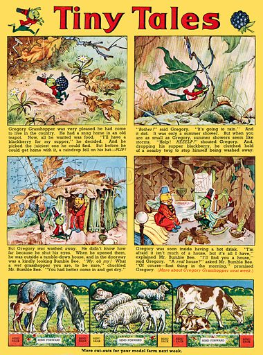 Tiny Tales (featuring Gregory Grasshopper). Comic strip from Jack and Jill, 30 August 1960.