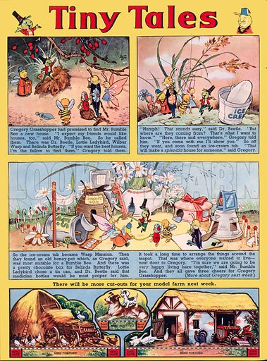 Tiny Tales (featuring Gregory Grasshopper). Comic strip from Jack and Jill, 6 September 1960.