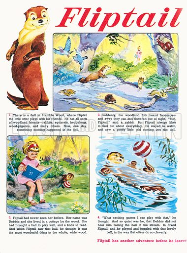Fliptail the Otter. Comic strip from Jack and Jill, 15 April 1970.