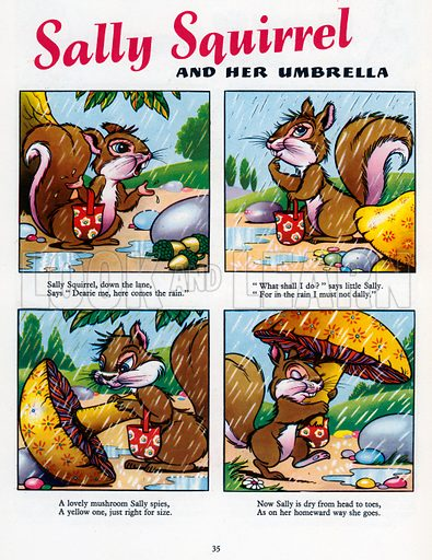 Sally Squirrel. Comic strip from Jack and Jill Book 1955.